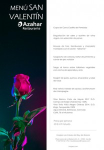 Menú San Valentín Restaurante Azahar
