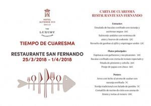Carta de Cuaresma Restaurante San Fernando